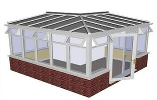 L-shape lean to conservatory
