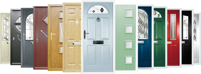 A range of different front door designs