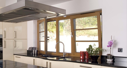 Kitchen Tilt and Turn Window Wood-grain